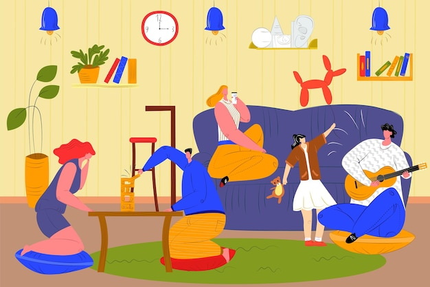 사람들은 벡터 일러스트레이션인 집에서 함께 시간을 보냅니다. 만화 남자 여자 친구 캐릭터는 방에 앉아 기타를 연주하고 테이블에서 젠가를 연주합니다.