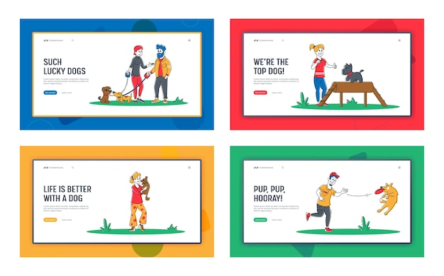 People spend time with pets outdoors landing page template set