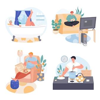 Люди проводят выходные дома концептуальные сцены набор векторных иллюстраций персонажей