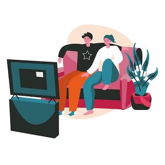 人々は週末をホームシーンのコンセプトで過ごします。テレビを見ながらソファに座っているカップル。快適な国内のインテリア、人々の活動での休息と余暇。フラットなデザインの文字のベクトル図