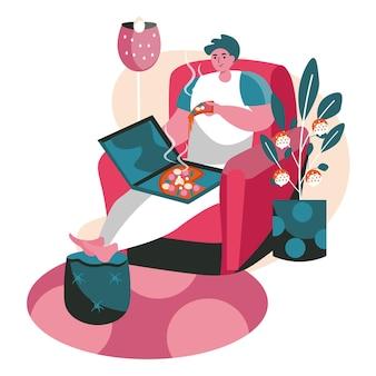 人々は週末をホームシーンのコンセプトで過ごします。居間の椅子に座ってピザを食べる男。休憩、趣味、レジャー、人々の活動。フラットなデザインの文字のベクトル図