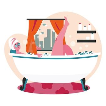 人々は週末をホームシーンのコンセプトで過ごします。浴室で泡風呂に入っている女性。休息、スキンケア、ウェルネス、趣味とレジャー、人々の活動。フラットなデザインの文字のベクトル図