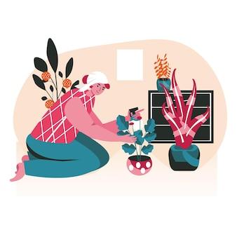 人々は週末をホームシーンのコンセプトで過ごします。鉢植えの植物に水をまき、屋内の花の世話をする女性。休憩、趣味、レジャー、人々の活動。フラットなデザインの文字のベクトル図