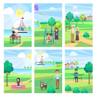 People spending free time in park illustration