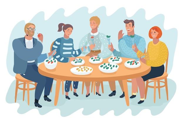 Люди проводят время обеда за столом
