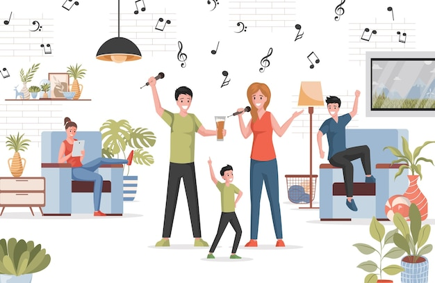 People spending time together at home party flat illustration