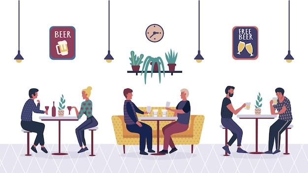 Люди вместе проводят время в баре и в кафетерии. мультфильм друзья, мужчина и женщина расслабляются.