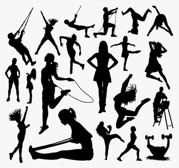 People sport activity silhouette.