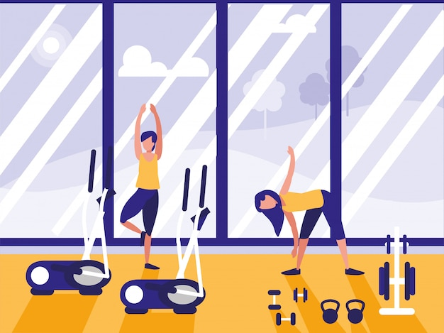 People in sport gym