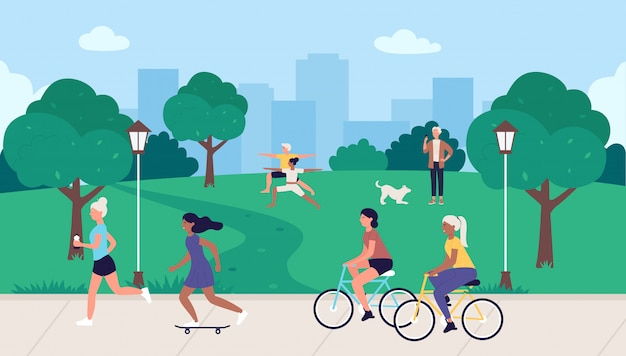 People in sport healthy activity illustration. cartoon flat sportsman characters running, active woman man cycling