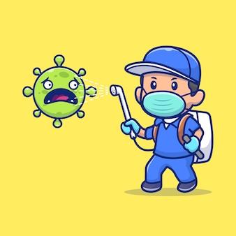 人スプレーコロナウイルスアイコンイラスト。