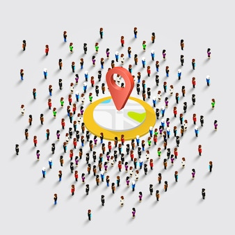 People stand around the location on a white background . vector illustration