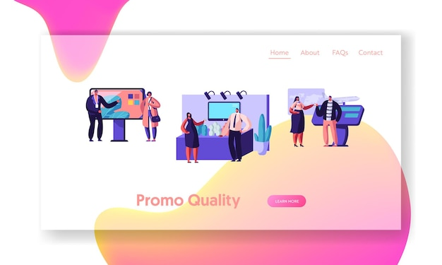 People stand beside commercial promotional stands, trying product samples, talking to consultants and promoters at trade fair. website landing page, web page. cartoon flat vector illustration