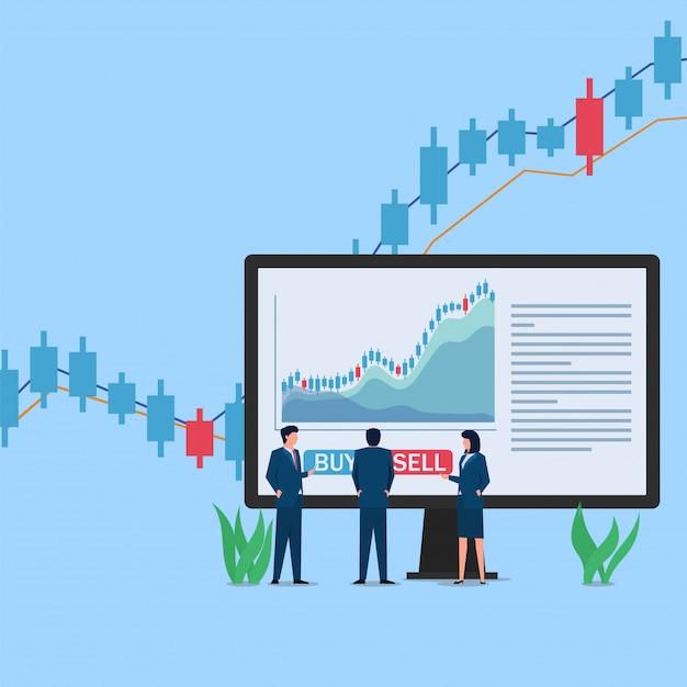 画面の前に立つ人々は、売買の決定を待っている株式取引チャートを表示します。