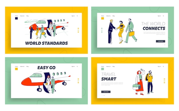 People stand in queue on plane in airport, business travel landing page template set.