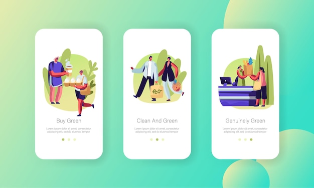 People stand in queue with reusable packaging, male and female characters use eco pack for shopping mobile app page onboard screen set concept
