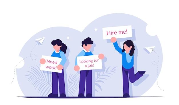 Люди стоят с плакатами в поисках работы. понятие безработицы.