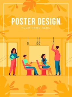 서서 버스 또는 지하철에 앉아있는 사람들은 평면 그림을 격리합니다. 지하철을 사용하는 만화 남성과 여성. 목적지 및 대중 도시 교통 개념