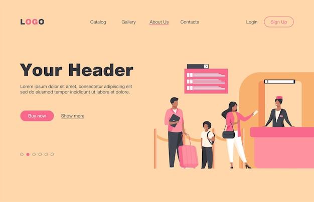 フライト登録カウンターに立っている人。家族、手荷物、チケットフラットランディングページ。バナー、ウェブサイトのデザインまたはランディングウェブページの旅行と休暇のコンセプト