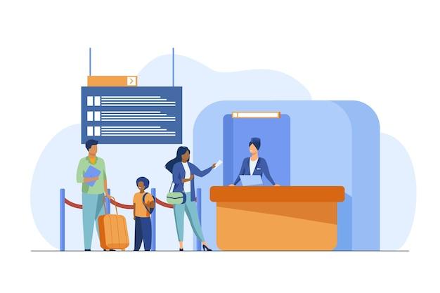 フライト登録カウンターに立っている人。家族、手荷物、チケットフラットベクトルイラスト。旅行と休暇