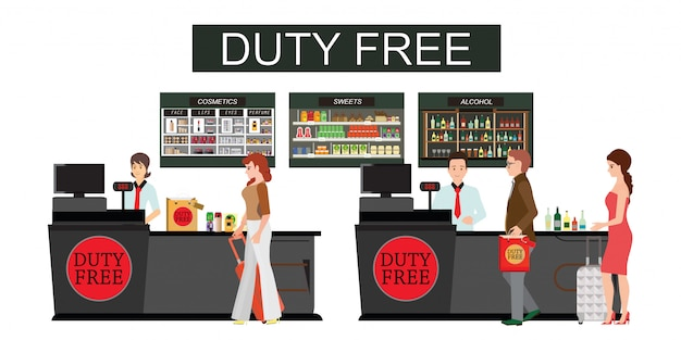 People standing at the counter in duty free store isolated on white.