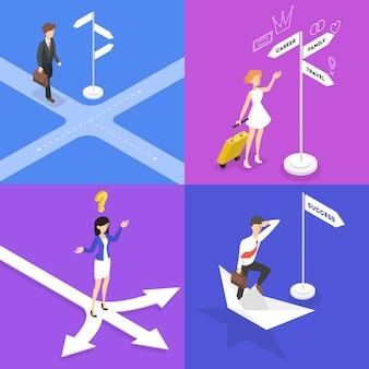 People standing on the crossroads and thinking set. businessman choose direction of the way. difficult choice of future strategy.  isometric illustration