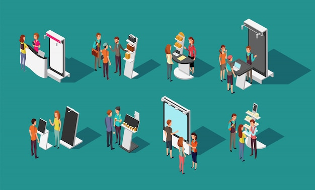 People standing at expo promotional stands  3d isometric set