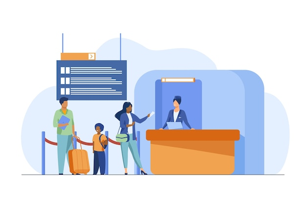 People standing at flight registration counter. family, baggage, ticket flat vector illustration. travelling and vacation