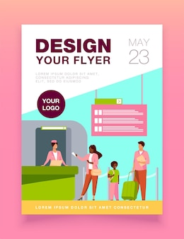 People standing at flight registration counter flyer template