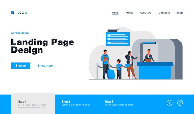 People standing at flight registration counter landing page in flat style