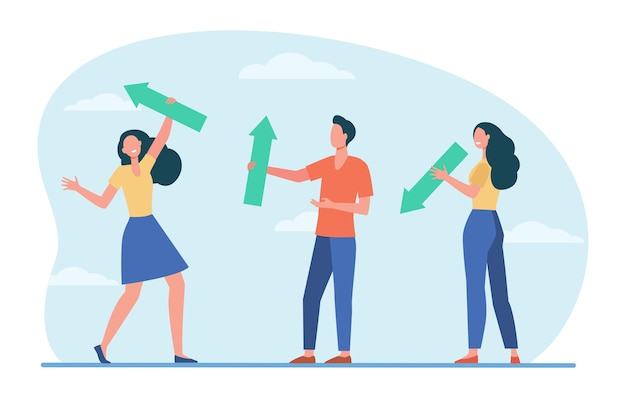 People standing and holding arrows. sign, up, down flat vector illustration. direction and growth