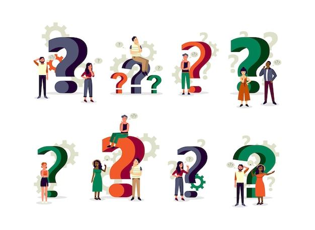Люди, стоящие в сомнении с большим знаком вопроса. вопросы-ответы