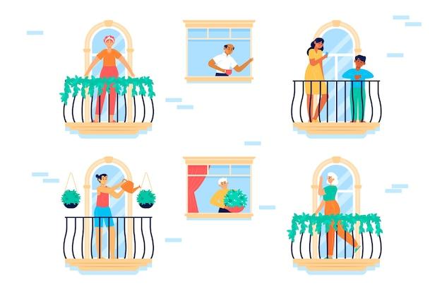 Люди, стоящие перед окнами или балконами