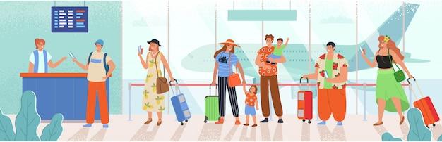 フロントに並んでいる人。飛行機での出発を待っている荷物を持つ男性と女性。スタイルの漫画イラスト。