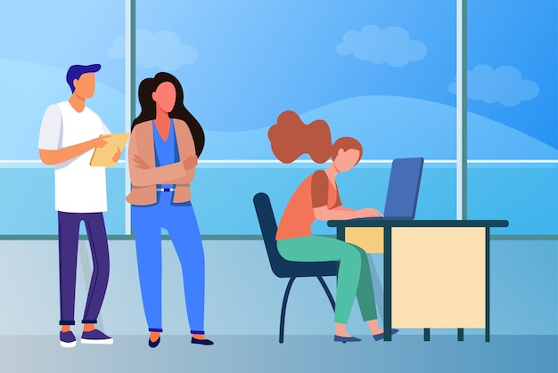 People standing in line to use laptop computer. window, desk, job flat vector illustration. communication and digital technology