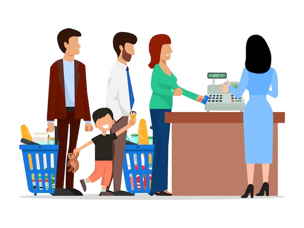 People standing in long queue in supermarket illustration.