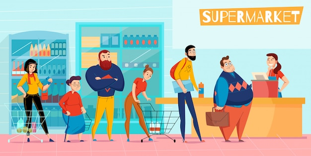 People standing in long supermarket queue lining up waiting checkout customer service horizontal flat composition  illustration