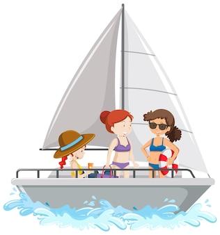 白い背景で隔離の帆船に立っている人々