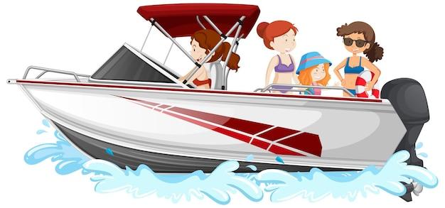 白い背景で隔離のスピードボートに立っている人々