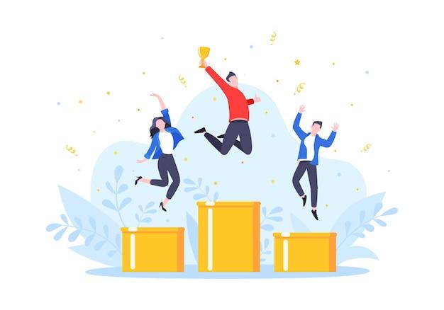 시상대에 서 있는 사람들은 1위 3위를 기록하며 공중으로 점프한다.