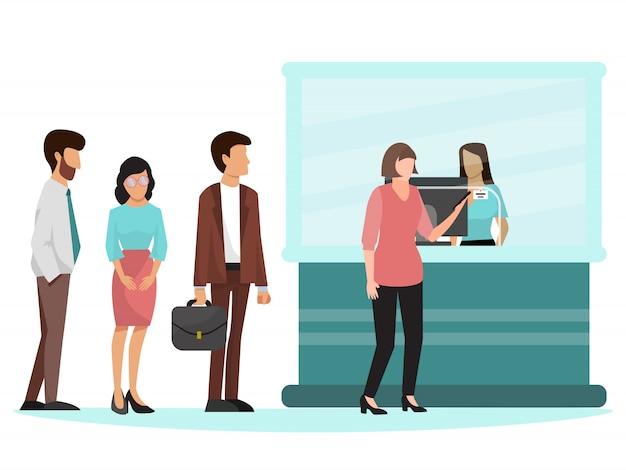 People standing in queue in bank illustration.