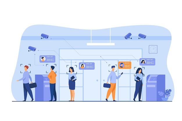 People standing queue in bank to withdrawing cash money flat vector illustration. ai face recognition with camera for access. digital safety, analysis and control concept