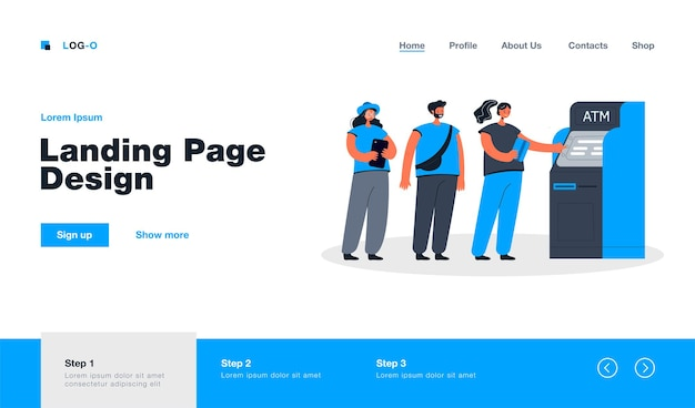 People standing in queue landing page in flat style