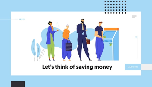 People standing in queue near atm cash machine web banner template.