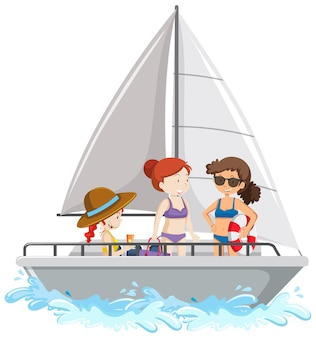 People standing on a sailboat isolated on white background