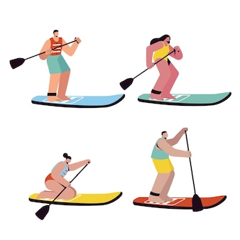 People standing on sup boards pack