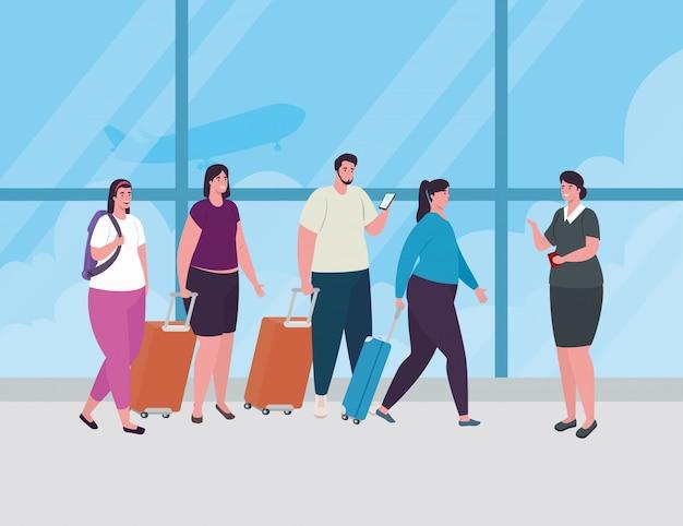 Люди, стоящие для регистрации, чтобы зарегистрироваться на рейс, женщины и мужчины с багажом в ожидании вылета самолета в аэропорту, векторные иллюстрации
