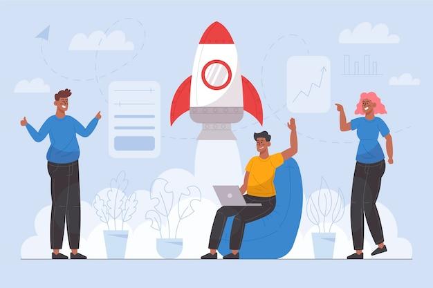 Люди, начинающие бизнес-проект, проиллюстрированы