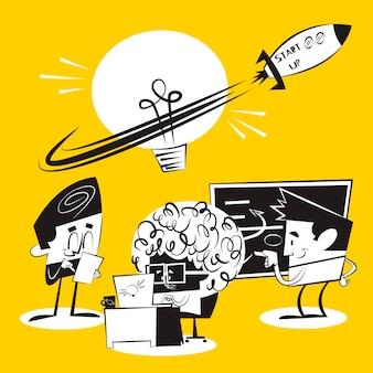 Люди начинают бизнес-проект вместе Premium векторы