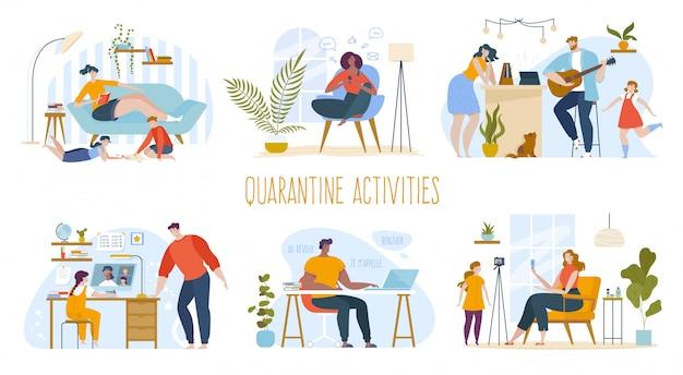 사람들은 격리 그림 세트에 집에 머물고, 만화 여자 남자 또는 가족 캐릭터는 온라인 소셜 미디어에서 의사 소통